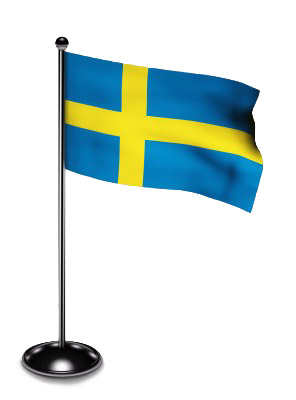 Swedish Flag on a Silver Pole with a Stand